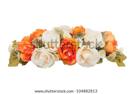 beauty fake flowers isolated on a white