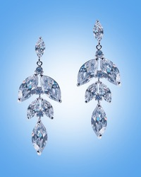 Beauty fashion concept with silver earrings