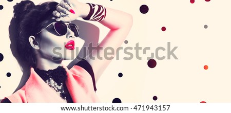 Beauty Fashion model girl with brown hair wearing stylish sunglasses. Sexy woman portrait with perfect makeup and manicure, trendy accessories and fashion wear. Beauty trends - Shutterstock ID 471943157