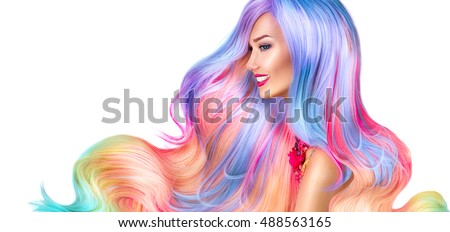 Shutterstock Beauty Fashion Model Girl with Colorful Dyed Hair. Colourful Long Hair. Portrait of a Beautiful Woman with Colorful Dyed Hair, professional hair Coloring. Colouring rainbow hair, curly long haircut