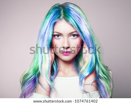Beauty Fashion Model Girl with Colorful Dyed Hair. Girl with perfect Makeup and Hairstyle. Model with perfect Healthy Dyed Hair. Rainbow Hairstyles - Shutterstock ID 1074761402