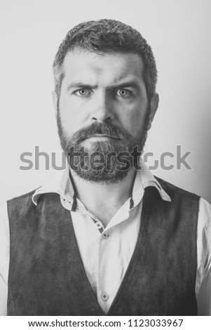 Beauty Fashion model man. Fashion look. Hipster in shirt and waistcoat. Guy or bearded businessman. Barber fashion and beauty. Fashion model with stylish hair isolated on white. #1123033967