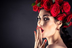 beauty fashion model with red roses hairstyle