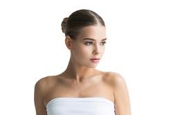 Beauty female face healthy beautifulwoman skin care spa concept model portrait