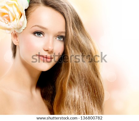 Beautiful Model Face. Healthy Long Hair and Perfect Clear Skin. Youth