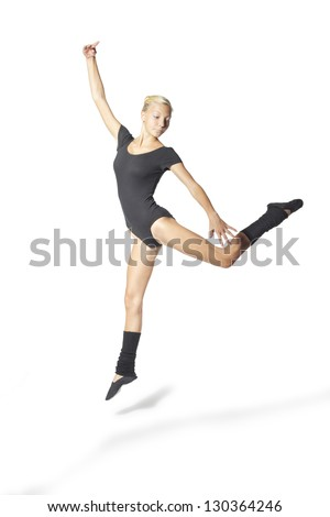 beauty girl dance on white background