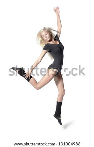 beauty girl dance on white background - stock photo