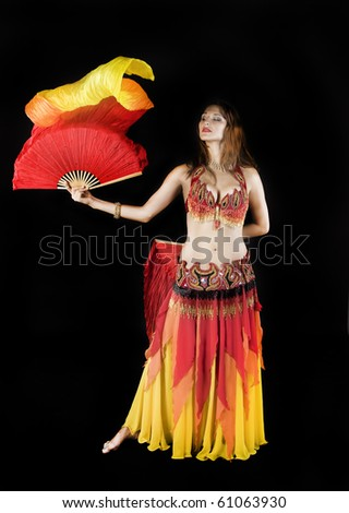 Beauty girl dance with flag - stock photo