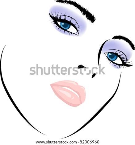 beauty girl face. Art work illustration. Raster version. - stock photo