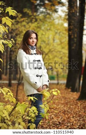 beauty girl in autumn park