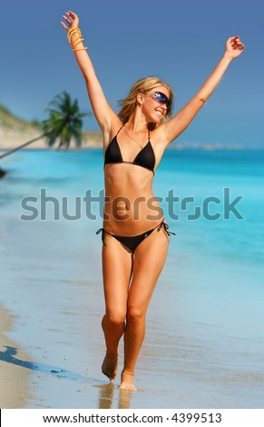 stock photo : Beauty Girl in black swim suite
