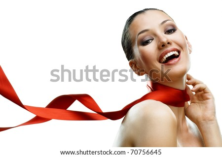 beauty girl on the white background