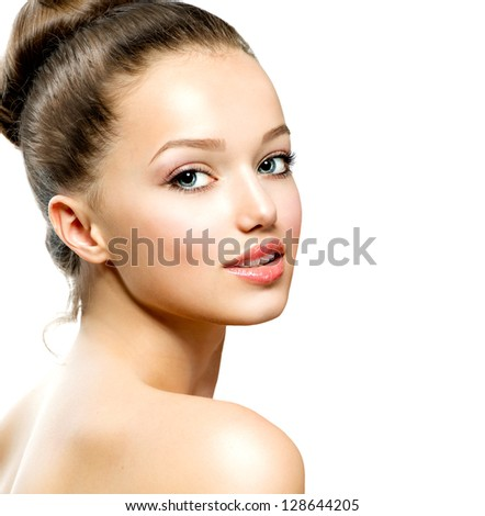 Beauty Girl Portrait. Beautiful Young Woman isolated on White Background. Fresh Clean Skin