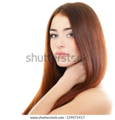 beauty girl portrait, young beautiful woman portrait with clean skin and long red hair, over white studio shot