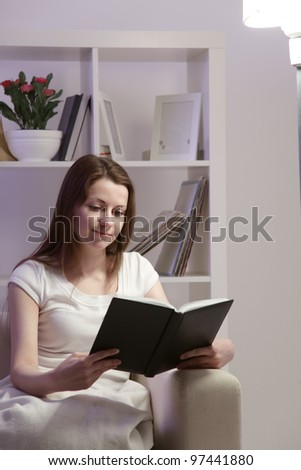 beauty girl read book at home