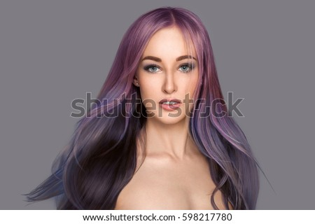 Shutterstock Beauty girl with flying long colored hair. Beautiful woman with smooth straight shiny hair. Colorful hair different color