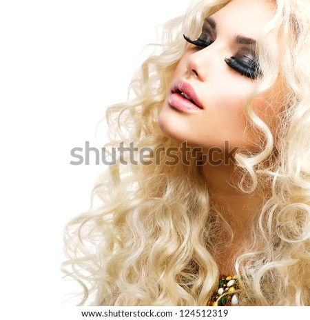 Beauty Girl With Healthy Long Curly Hair. Blonde Woman Portrait. Blond Wavy Hair