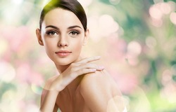 Beauty girl with make up face / photoset of attractive brunette girl on blurred background with bokeh