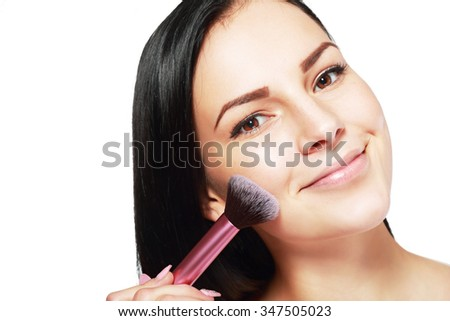 Beauty Girl with Makeup Brush. Bright Holiday Make-up for Brunette Woman with Brown Eyes. #347505023