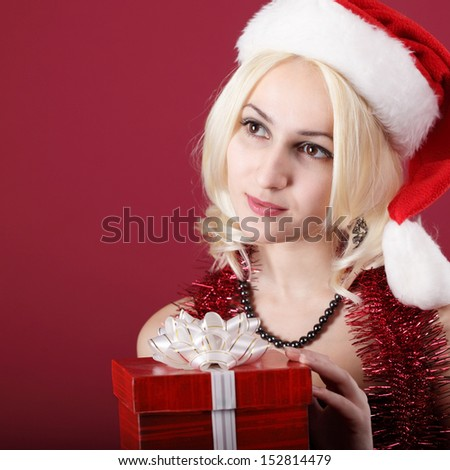 beauty girl with red gift box