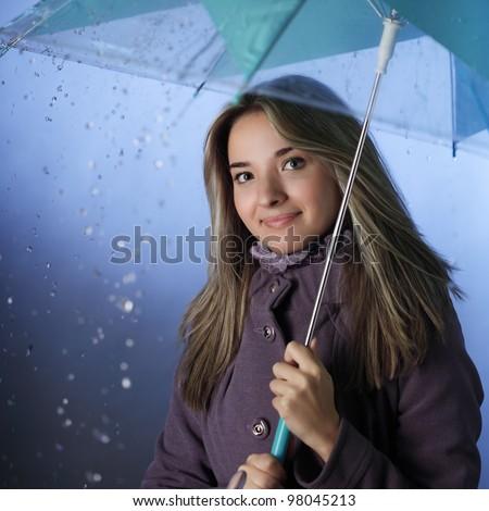 beauty girl with umbrella - stock photo