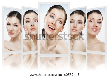 beauty girls on the blue background collage