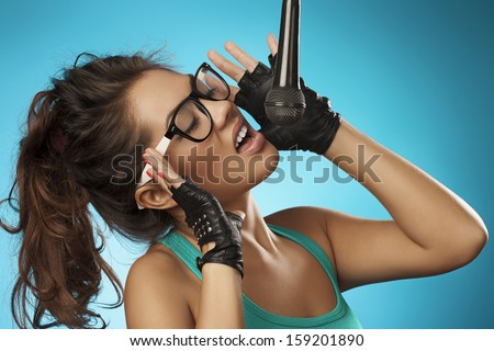Beauty Glamour Singer Girl. Rock n roll Style. Song.