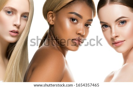 Beauty group women healthy skin care ethnic model Photo stock ©