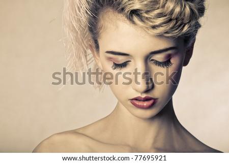 Fashion Hair Makeup Model
