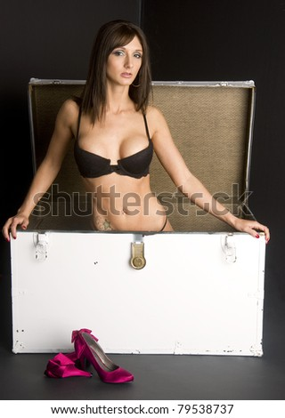Beauty in a Box Woman Kneeling Vintage Shipping Trunk