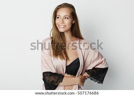 Beauty in lace nightwear and bra, smiling #507176686
