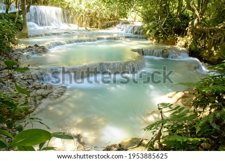 beauty in nature, Laos, Luang Prabang, patterns in nature, rivers, slow motion, slow motion water, Tat Kuang Si, time release, timelapse, Water, water blur, Waterfall, Waterfalls Photo stock ©