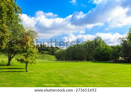 Beauty in nature summer landscape. Countryside view of green fields in England #273651692