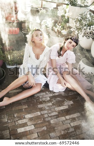 Beauty ladies in garden