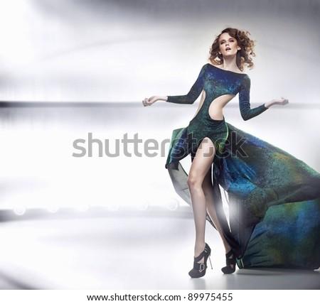 Beauty lady in gorgeous dress