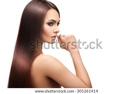 Beauty lady with makeup and perfect straight hair on white background in studio #305261414