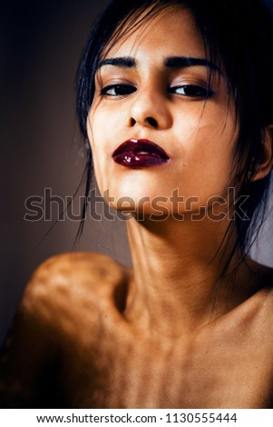 Stock Photo beauty latin young woman in depression, hopelessness look, fashi
