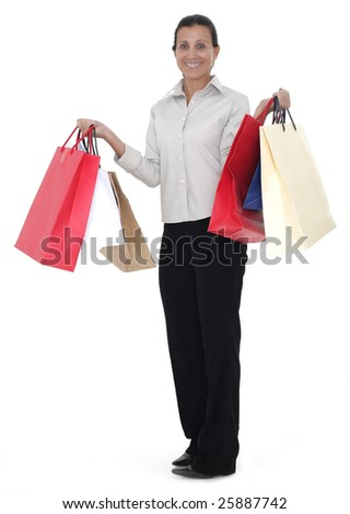 Beauty mature woman holding shopping bags