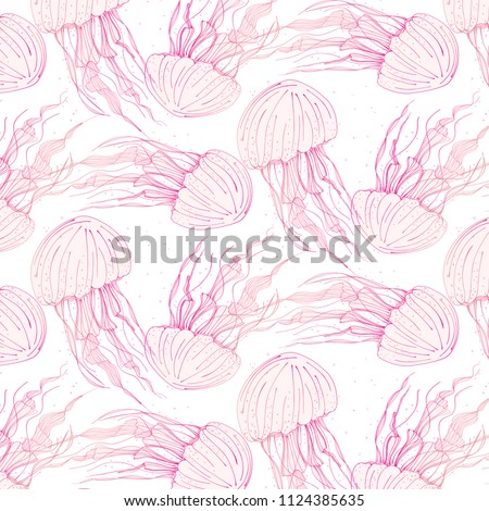 Stock Photo Beauty medusa cover. Dangerous jellyfish marine animals. Tropical underwater ocean animal pattern. Wildlife background print.  Deep ocean transparent life
