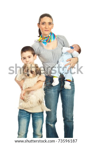 Beauty mid adult mother with two boys and a dog isolated on white background