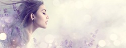 Beauty Model Girl with Lavender flowers double exposure art design. Beautiful young brunette woman with flying long hair profile portrait. Nature. Border design. Elegant female