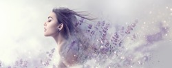 Beauty Model Girl with Lavender flowers double exposure art design. Beautiful young brunette woman with flying long hair profile portrait. Fantasy Watercolor. Nature cosmetics concept, make-up