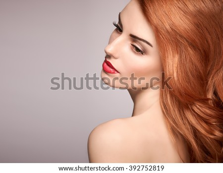 Beauty model portrait nude woman, eyelashes, perfect skin, natural makeup, red lips, fashion model. Gorgeous sensual attractive pretty redhead sexy model girl, shiny wavy hair.People face closeup, spa