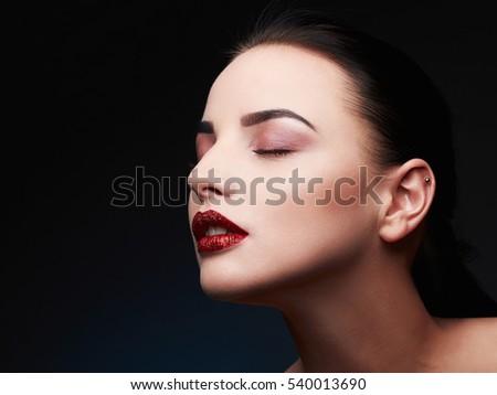 Beauty Model Woman.Beautiful Gorgeous Glamour Lady Portrait.Sexy Lips. Beauty Red Lips Makeup Detail.glitter lips