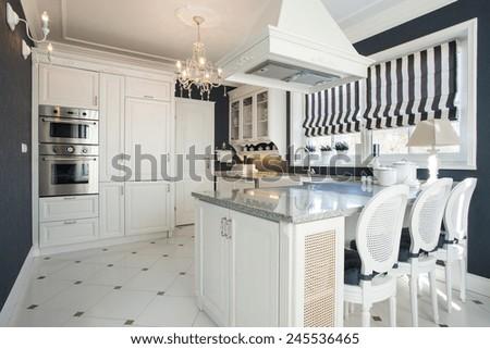 Beauty modern kitchen interior with white furniture
