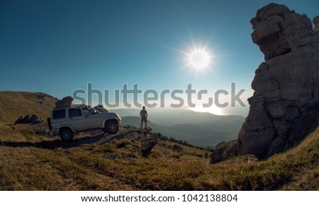 Beauty nature landscape Crimea , traveling off-road on car and freedom (liberty) concept, horizontal photo #1042138804