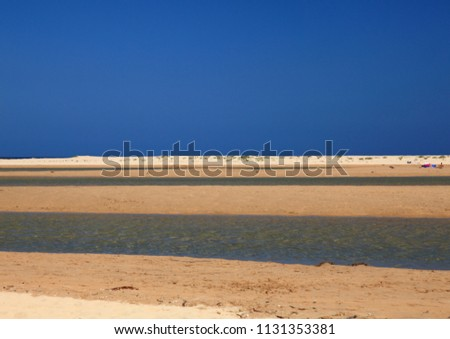 Beauty of blue, yellow and white, beach with a creek #1131353381
