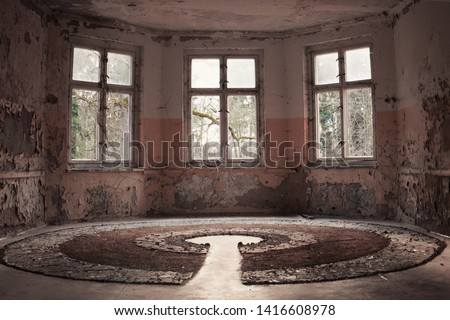 Beauty of decay - the window with a garden view in tthe abandoned house in Oranienburg, Germany #1416608978