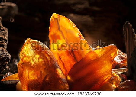Beauty of natural amber. Several yellow natural amber stones in a cave. Сток-фото ©