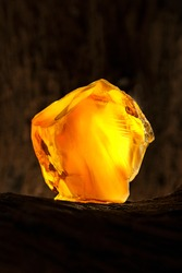 Beauty of natural raw amber. A piece of yellow opaque natural amber on large piece of dark stoned wood.